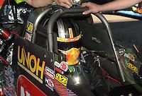May 21, 2011; Topeka, KS, USA: NHRA top fuel dragster driver Terry McMillen during the Summer Nationals at Heartland Park Topeka. Mandatory Credit: Mark J. Rebilas-