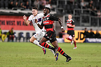 19th March 2021; Bankwest Stadium, Parramatta, New South Wales, Australia; A League Football, Western Sydney Wanderers versus Perth Glory; Brandon Wilson of Perth Glory and Bernie Ibini of Western Sydney Wanderers chase the through ball