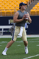 Pitt quarterback Mark Myers warms up. The Notre Dame Fighting Irish defeated the Pitt Panthers 15-12 at Heinz field in Pittsburgh, Pennsylvania on ber 24, 2011