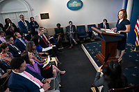 Jen Psaki, White House press secretary, speaks during a news conference in the James S. Brady Press Briefing Room at the White House in Washington, D.C., U.S., on Tuesday, June 8, 2021. President Biden released a multi-pronged strategy to secure critical supply chains in products ranging from medicines to microchips, and is also weighing a potential trade probe that could result in U.S. tariffs on certain magnet imports. <br /> CAP/MPI/RS<br /> ©RS/MPI/Capital Pictures