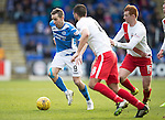 St Johnstone v Kilmarnock…25.02.17     SPFL    McDiarmid Park<br />Steven MacLean is closed down by Gary Dicker and Scott Boyd<br />Picture by Graeme Hart.<br />Copyright Perthshire Picture Agency<br />Tel: 01738 623350  Mobile: 07990 594431