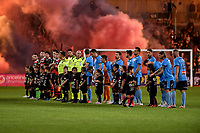1st May 2021; Bankwest Stadium, Parramatta, New South Wales, Australia; A League Football, Western Sydney Wanderers versus Sydney FC; the teams lineup before kick off as flares are lit