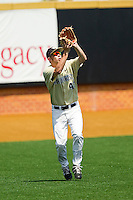 Wake Forest Demon Deacons left fielder Grant Shambley #43 settles under a fly ball against the Georgia Tech Yellow Jackets at Wake Forest Baseball Park on April 15, 2012 in Winston-Salem, North Carolina.  The Demon Deacons defeated the Yellow Jackets 11-3.  (Brian Westerholt/Four Seam Images)