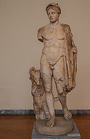 Athens archeological museum , statue of Hermes  with a dog 2nd century AD (copy of an original from the school of Polycleitos 5th century BC  statua di Ermes con cane