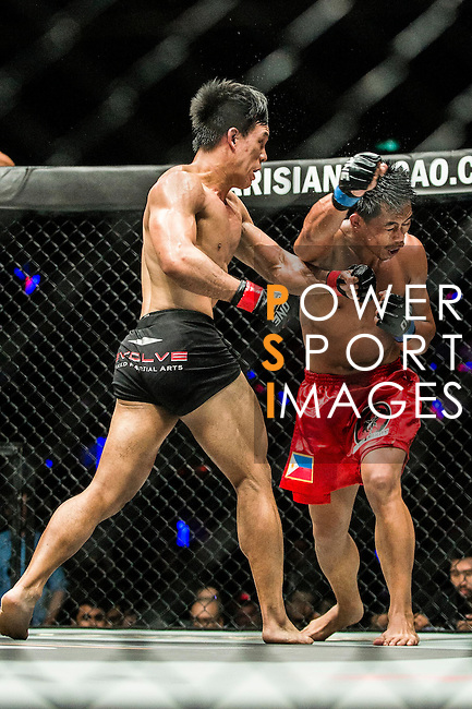 Eddie Ng of Hong Kong vs Honorio Banario of Philippines in action during their Lightweight bout as part of the One Championship - Heroes of the World on 13 August 2016 at The Venetian Macao Cotai Arena in Macau, China. Photo by Marcio Machado / Power Sport Images