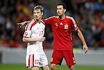 Spain's Sergio Busquets (r) and Belarus' Pavel Nekhaychik during 15th UEFA European Championship Qualifying Round match. November 15,2014.(ALTERPHOTOS/Acero)