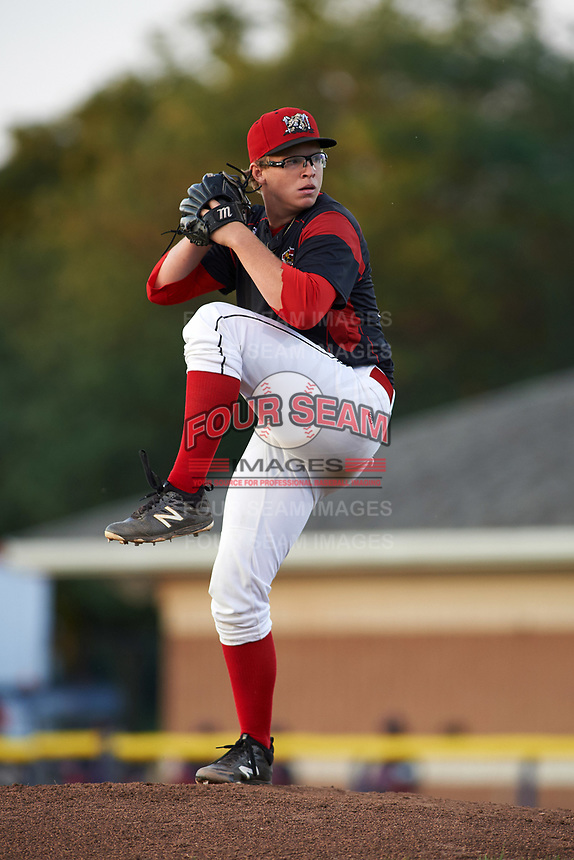 Batavia Muckdogs relief pitcher RJ Peace (25) delivers a pitch during a game against the Lowell Spinners on July 11, 2017 at Dwyer Stadium in Batavia, New York.  Lowell defeated Batavia 5-2.  (Mike Janes/Four Seam Images)