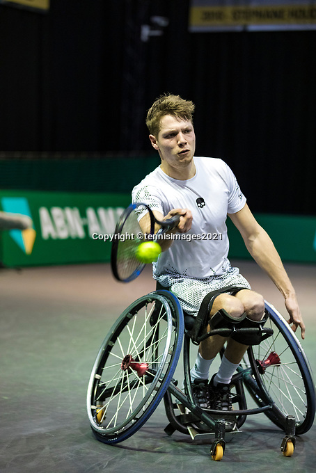 Rotterdam, The Netherlands, 4 march  2021, ABNAMRO World Tennis Tournament, Ahoy, First round wheelchair: Martin de la Puente (ESP) vs. Takashi Sanada (JPN). <br /> Photo: www.tennisimages.com/