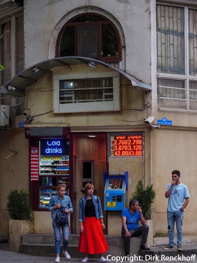 Wechselstube auf der Kote Apkhazi, Tiflis– Tbilissi, Georgien, Europa<br /> money exchabge at Kote Apkhazi, Tbilisi, Georgia, Europe