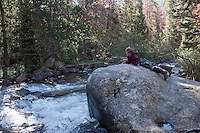 Child fishing for Browns and Brook Trout in Rocky Mountain National Park
