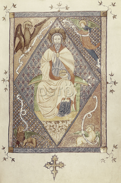 Missal of Sant Cugat del Vallès. s.XV. Christ Pantokrator with Tetramorph. Catalan school. Gothic art. Miniature Painting. SPA