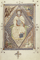 Missal of Sant Cugat del Vallès. s.XV. Christ Pantokrator with Tetramorph. Catalan school. Gothic art. Miniature Painting. SPA