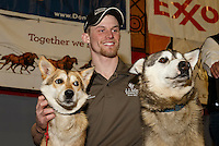 2015 Iditarod champion Dallas Seavey and his lead dogs  at the finishers banquet in Nome on Sunday  March 22, 2015 during Iditarod 2015.  <br /> <br /> (C) Jeff Schultz/SchultzPhoto.com - ALL RIGHTS RESERVED<br />  DUPLICATION  PROHIBITED  WITHOUT  PERMISSION