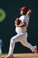 Starting pitcher Daniel Gonzalez (47) of the Greenville Drive delivers a pitch in a game against the Columbia Fireflies on Sunday, May 8, 2016, at Fluor Field at the West End in Greenville, South Carolina. Greenville won, 5-4. (Tom Priddy/Four Seam Images)