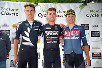 Podium winners James Oram (2), Sam Crome (1) and Steve Lampier (3). The NZ Cycle Classic stage two of the UCI Oceania Tour in Wairarapa, New Zealand on Monday, 23 January 2017. Photo: Dave Lintott / lintottphoto.co.nz