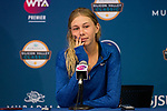 August 2, 2019: Amanda Anisimova (USA) addresses the media after she was defeated by Saisai Zheng (CHN) 5-7, 7-5, 6-4 in the quarterfinals of the Mubadala Silicon Valley Classic at San Jose State in San Jose, California. ©Mal Taam/TennisClix/CSM