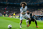 Marcelo Vieira Da Silva (L) of Real Madrid fights for the ball with Dani Alves of Paris Saint Germain during the UEFA Champions League 2017-18 Round of 16 (1st leg) match between Real Madrid vs Paris Saint Germain at Estadio Santiago Bernabeu on February 14 2018 in Madrid, Spain. Photo by Diego Souto / Power Sport Images