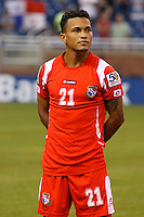 Panama midfielder Amilcar Henríquez (21) before the CONCACAF soccer match between Panama and Guadeloupe at Ford Field Detroit, Michigan.