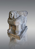 Column base Sphix sculpture support. Found in North Hall at the Castle of Sam'al - Zincirli. Basalt 8th century BC. Vorderasiatisches Museum, Pergamon Museum, Berlin, inv no 3017