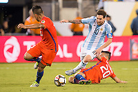 Action photo during the match Argentina vs Chile, Corresponding to Great Final of the America Centenary Cup 2016 at Metlife Stadium, East Rutherford, New Jersey.<br /> <br /> <br /> Foto de accion durante el partido Argentina vs Chile, correspondiente a la Gran Final de la Copa America Centenario 2016 en el  Metlife Stadium, East Rutherford, Nueva Jersey, en la foto: (i-d) Lionel Messi de Argentina y Charles Aranguiz de Chile<br /> <br /> <br /> 26/06/2016/MEXSPORT/Jorge Martinez.