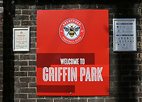 A notice at the main entrance with the words, Welcome to Griffin Park during Brentford vs Swansea City, Sky Bet EFL Championship Play-Off Semi-Final 2nd Leg Football at Griffin Park on 29th July 2020