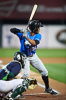 Hudson Valley Renegades outfielder Angel Moreno (36) at bat during a game against the Vermont Lake Monsters on September 3, 2015 at Centennial Field in Burlington, Vermont.  Vermont defeated Hudson Valley 4-1.  (Mike Janes/Four Seam Images)
