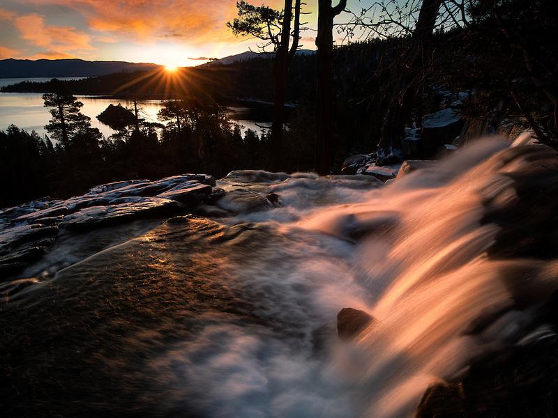 Eagle Creek Falls and Lake Tahoe with sunrise. California
