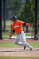 Miami Marlins Jhonny Santos (11) during a Minor League Spring Training game against the Washington Nationals on March 28, 2018 at FITTEAM Ballpark of the Palm Beaches in West Palm Beach, Florida.  (Mike Janes/Four Seam Images)