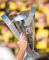 MLS Cup trophy is held up during MLS Cup 2008. Columbus Crew defeated the New York Red Bulls, 3-1, Sunday, November 23, 2008. Photo by John Todd/isiphotos.com