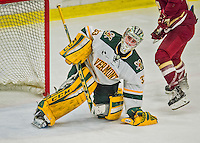 20 February 2016: University of Vermont Catamount Goaltender Packy Munson, a Freshman from Hugo, MN, holds onto the puck after making a third period save against the Boston College Eagles at Gutterson Fieldhouse in Burlington, Vermont. The Eagles defeated the Catamounts 4-1 in the second game of their weekend series. Mandatory Credit: Ed Wolfstein Photo *** RAW (NEF) Image File Available ***