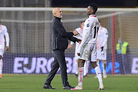 Stefano Pioli coach of AC Milan and Rafael Leao  celebrate at the end of the match during the Serie A football match between Benevento Calcio and AC Milan at stadio Ciro Vigorito in Benevento (Italy), January 03rd, 2021. <br /> Photo Cesare Purini / Insidefoto