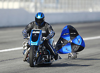 Feb 8, 2020; Pomona, CA, USA; NHRA top fuel nitro Harley Davidson motorcycle rider Tony Ruggiero during qualifying for the Winternationals at Auto Club Raceway at Pomona. Mandatory Credit: Mark J. Rebilas-USA TODAY Sports