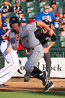 Omaha Storm Chasers outfielder Wil Myers #8 sprints to second base during the first inning of the Pacific Coast League baseball game against the Round Rock Express on July 20, 2012 at the Dell Diamond in Round Rock, Texas. The Chasers defeated the Express 10-4. (Andrew Woolley/Four Seam Images)