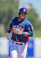 4 March 2016: Houston Astros infielder Luis Valbuena rounds the bases after hitting a solo home run during a Spring Training pre-season game against the St. Louis Cardinals at Osceola County Stadium in Kissimmee, Florida. The Astros defeated the Cardinals 6-3 in Grapefruit League play. Mandatory Credit: Ed Wolfstein Photo *** RAW (NEF) Image File Available ***