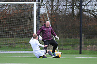 Pictured: Max Webbon. Wednesday 13 December 2018<br /> Re: Coaching staff v Members of the press game at the Fairwood Training Ground, Wales, UK.