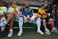 Los Angeles Galaxy midfielder David Beckham (23) on the bench before the game. DC United defeated the Los Angeles Galaxy 1-0, at RFK Stadium Washington DC, Thursday August 9, 2007.