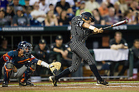 Vanderbilt Commodores outfielder Jeren Kendall (3) swings the bat during the NCAA College baseball World Series against the Cal State Fullerton Titans on June 14, 2015 at TD Ameritrade Park in Omaha, Nebraska. The Titans were leading 3-0 in the bottom of the sixth inning when the game was suspended by rain. (Andrew Woolley/Four Seam Images)