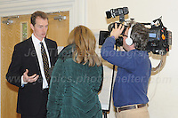 14.11.2016 - Ebbw Vale, Gwent, South wales. The Welsh Affairs Committee Brexit meeting at the Ebbw Vale Institute. David T.C. Davies Conservative MP for Monmouth during a TV interview. <br /> <br /> <br /> Jeff Thomas Photography -  www.jaypics.photoshelter.com - <br /> e-mail swansea1001@hotmail.co.uk -<br /> Mob: 07837 386244 -