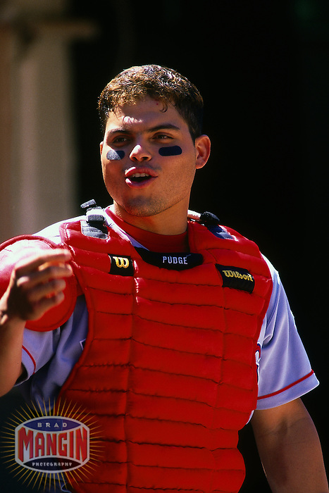 OAKLAND, CA - Ivan Pudge Rodriguez of the Texas Rangers in action during a game against the Oakland Athletics at the Oakland Coliseum in Oakland, California in 2000. Photo by Brad Mangin
