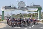 The peloton approach Al Quadra Cycle Track during Stage 6 of the 2021 UAE Tour running 1ough Dubai city65km from Deira Island to Palm Jumeirah, Dubai, UAE. 26th February 2021.<br /> Picture: LaPresse/Fabio Ferrari   Cyclefile<br /> <br /> All photos usage must carry mandatory copyright credit (© Cyclefile   LaPresse/Fabio Ferrari)