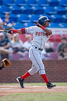 Michael Martinez (3) of the Potomac Nationals follows through on his swing at Ernie Shore Field in Winston-Salem, NC, Saturday August 9, 2008. (Photo by Brian Westerholt / Four Seam Images)