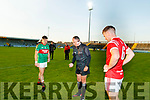 Pa Wrenn, Mid Kerry and Dan O'Donoghue (Captain), East Kerry with Referee Paul Hayes (Kerins O'Rahillys) before the Kerry County Senior Football Championship Final match between East Kerry and Mid Kerry at Austin Stack Park in Tralee on Saturday night.