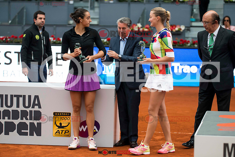Manolo Santana with French Caroline Garcia and French Kristina Mladenovic during Doubles Woman Final Mutua Madrid Open Tennis 2016 in Madrid, May 07, 2016. (ALTERPHOTOS/BorjaB.Hojas) /NortePhoto.com