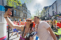 Pictured L-R: Organisers Nia Jermin Rae and Mark Jermin. Saturday 04 May 2019<br /> Re: Swansea Pride Parade in south Wales, UK.