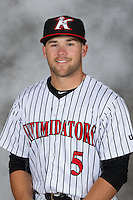 Kannapolis Intimidators outfielder Tyler Sullivan (5) poses for a photo at Kannapolis Intimidators Stadium on April 5, 2016 in Kannapolis, North Carolina.  (Brian Westerholt/Four Seam Images)