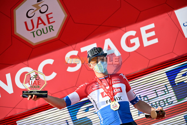 Mathieu van der Poel (NED) Alpecin-Fenix wins Stage 1 of the 2021 UAE Tour the ADNOC Stage running 176km from Al Dhafra Castle to Al Mirfa, Abu Dhabi, UAE. 21st February 2021.  <br /> Picture: LaPresse/Fabio Ferrari | Cyclefile<br /> <br /> All photos usage must carry mandatory copyright credit (© Cyclefile | LaPresse/Fabio Ferrari)