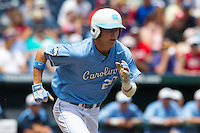 North Carolina Tar Heels outfielder Skye Bolt #20 runs during Game 3 of the 2013 Men's College World Series between the North Carolina State Wolfpack and North Carolina Tar Heels at TD Ameritrade Park on June 16, 2013 in Omaha, Nebraska. The Wolfpack defeated the Tar Heels 8-1. (Brace Hemmelgarn/Four Seam Images)