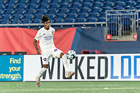 FOXBOROUGH, MA - AUGUST 7: Moises Tablante #67 of Orlando City B collects a pass during a game between Orlando City B and New England Revolution II at Gillette Stadium on August 7, 2020 in Foxborough, Massachusetts.