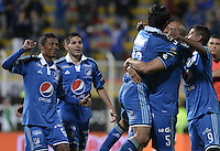 BOGOTÁ -COLOMBIA, 26-07-2014. Jugadores de Millonarios celebra un gol en contra de La Equidad durante partido por la fecha 2 de la Liga Postobón II 2014 jugado en el estadio Metropolitano de Techo de la ciudad de Bogotá./ Millonarios players celebrate a goal against La Equidad during match for the second date of the Postobon League II 2014 played at Metropolitano de Techo stadium in Bogotá city. Photo: VizzorImage/ Gabriel Aponte / Staff
