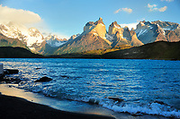 Chile - National Park Torres del Paine<br /> After sunrise first daylight on the Torres del Paine Massif